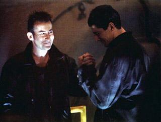 Methos & Kronos clasping hands